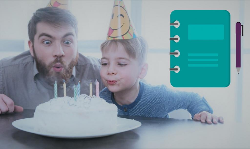 Vader en zoon blazen kaarsjes uit. Mooie herinnering om op je SD kaart op te slaan!